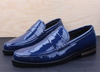 Синие лаковые мужские туфли купить в