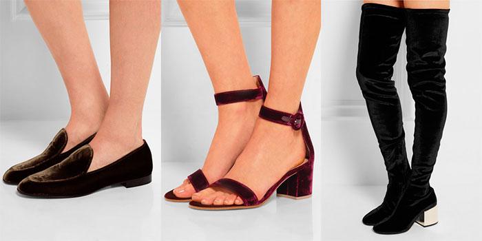 282b056a7313 Модная женская бархатная обувь: туфли, босоножки, ботинки