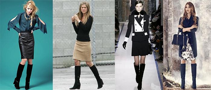 Короткие юбки высокие сапоги