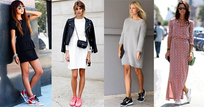Платья и кроссовки сочетание
