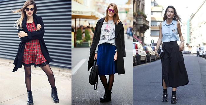 Как носить сапоги с платьями